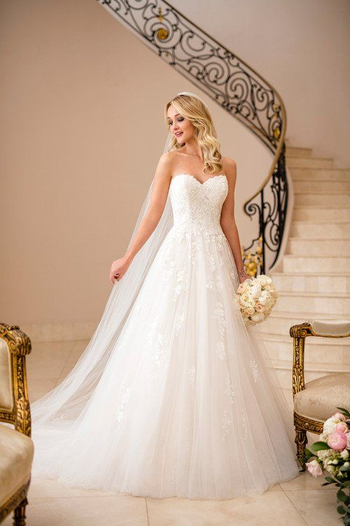 A Line Wedding Dress With Strapless Neckline Style 6690 By Stella York Wedding Dress By Stella Ball Gowns Wedding Stella York Wedding Gowns Bridal Dresses