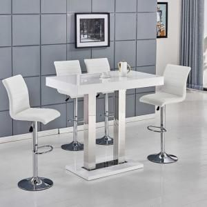 Caprice Bar Table In White High Gloss With 4 Ripple Bar Stools Bar Stool Furniture Bar Table And Stools Bar Table