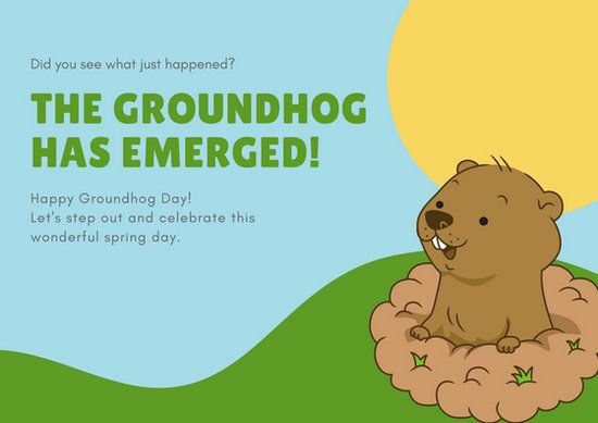 Free Groundhog Day Cards Groundhog Day Happy Groundhog Day Personalized Holiday Card