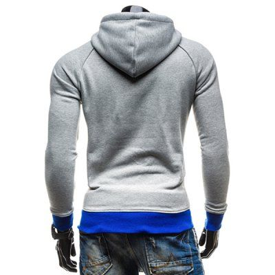 $17.42 (Buy here: http://appdeal.ru/bydq ) Inclined Zipper Classic Color Lump Splicing Rib Hem Slimming Hooded Long Sleeves Men's Hoodie for just $17.42