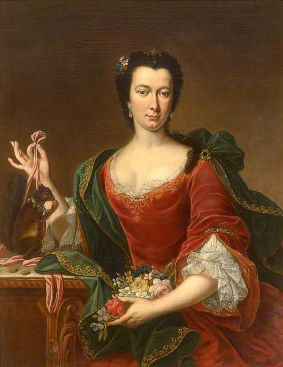 1730 Unknown French artist, Portrait of an Unknown French Lady Holding Flowers and a Red Squirrel with a bell collar.: