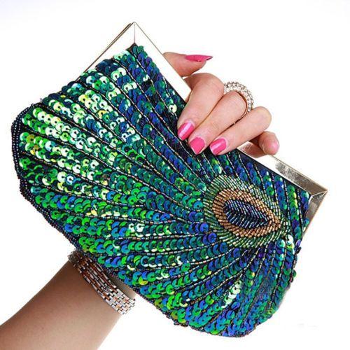 Women-New-fashion-Peacock-Wedding-Evening-Shoulder-bag-Clutch-beaded-purse