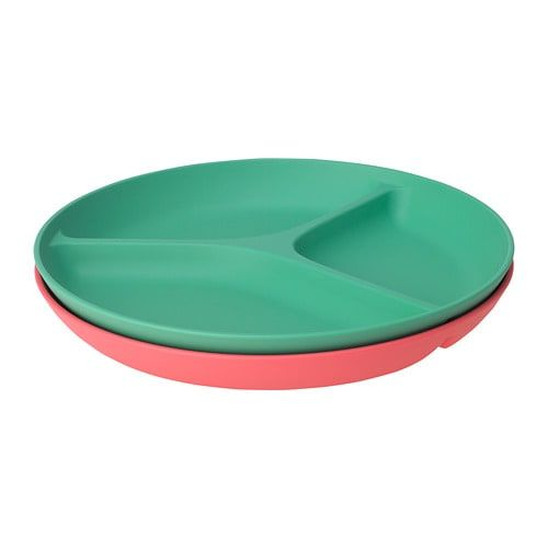 Heroisk Plate With 3 Compartments Light Red Green 8 Light Red Ikea Plates