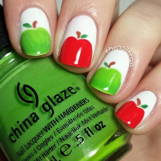 Qtplace* Apple nail art tutorial # apple | Nails nails nails ...