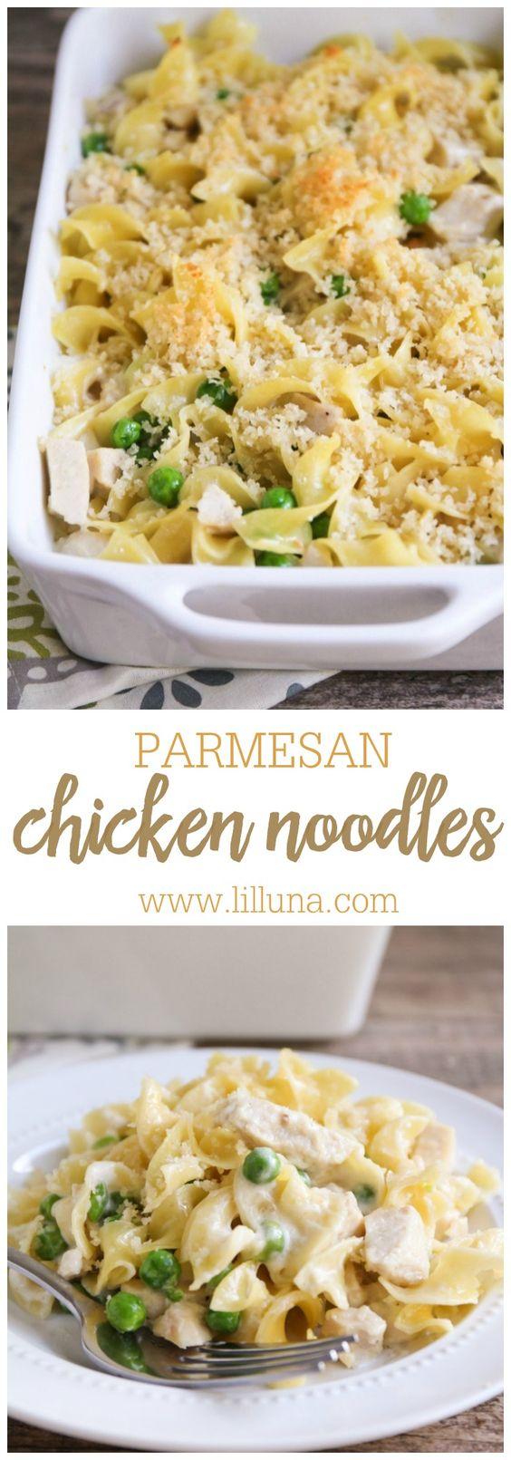 Garlic Parmesan Chicken and Noodles recipe { lilluna.com } So delicious and recipe includes egg noodles, peas, chicken, panko, and parmesan in a creamy sauce!