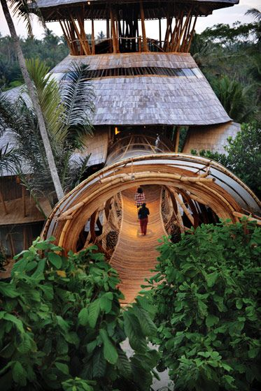 A eco bamboo Tree House in Bali designed and hand-constructed by Elora Hardy  .. for Sumant and Myriam Sharma and their four daughters ...Six stories, constructed (almost) entirely from bamboo treated with natural salt solution.: