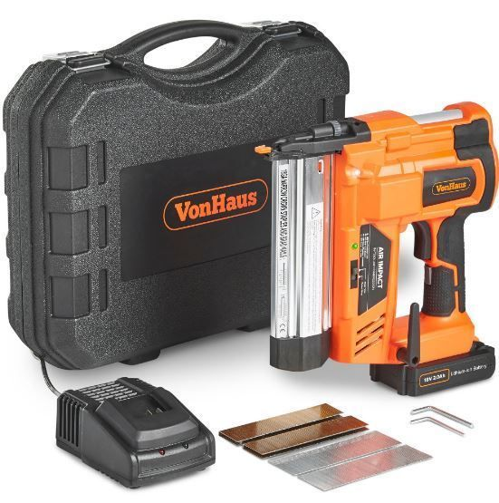 Heavy Duty VonHaus Cordless Electric 2 in 1 Nail and Staple Gun 18V