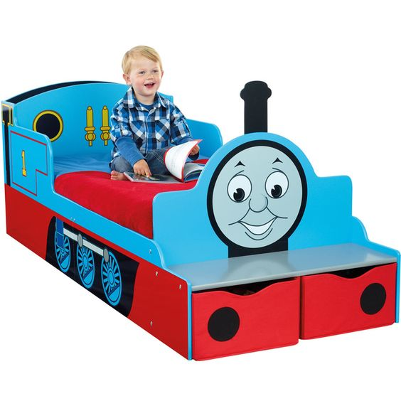Thomasthetrain toddler bed with storage thomas the train bedroom decor pinterest thomas for Toddler train bedroom