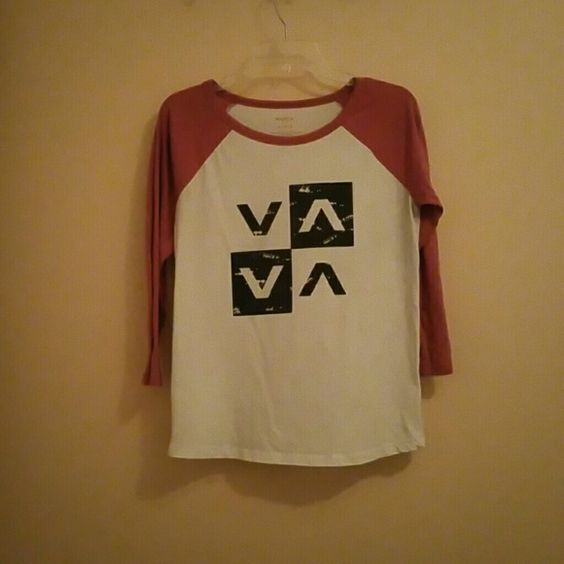 RVCA Baseball Tee Women's RVCA Baseball Tee with pink sleeves in gently pre owned condition RVCA Tops Tees - Long Sleeve