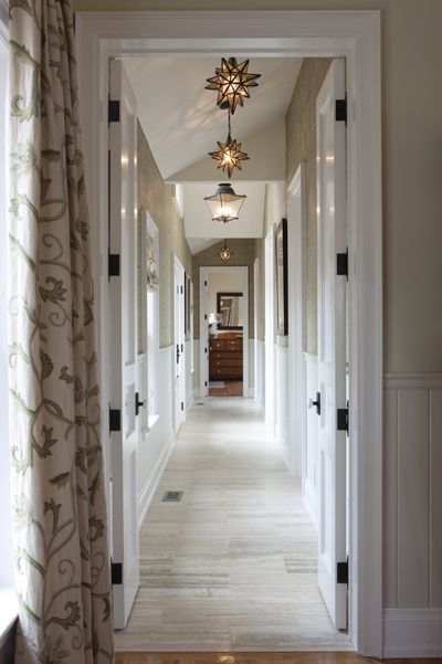 The hallway in the farmhouse addition, from Sarah's House 3. #sarahrichardson #interiordesign #hall #moravianstar
