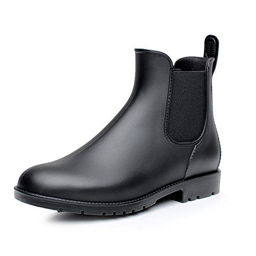 17km Women S Black Ankle Rain Shoes Anti Slip Short Rain Boots Slip On Waterproof Chelsea Boots Women S Ankle Rain Boots Womens Rain Boots Ankle Rain Boots