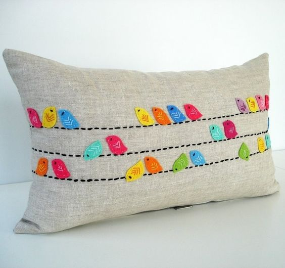 craft ideas for home and gifts: pillows with application | make handmade, crochet, craft: