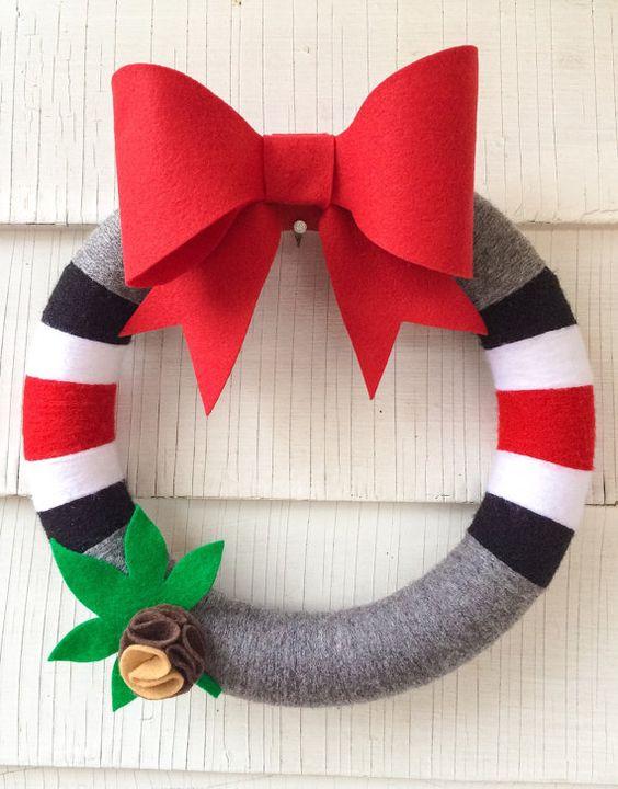 Ohio State wreath with buckeye OSU yarn wreath by HangingWithCouch