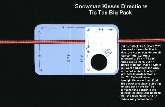 Tic Tac Snowman gift: Snowman Kiss, Treat Holder, Tic Tac, Christmas Card, Christmas Gift
