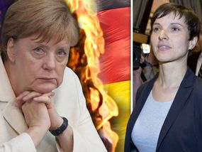 BELEAGUERED Angela Merkel is facing calls for a referendum to free German people…