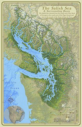 The Unknown Sea-The Salish Sea is the name for the body of water consisting of the Straits of Juan De Fuca,  The Straits of Georgia, The Puget Sound, Hood Canal, the San Juan Islands, and the Gulf Islands.  A majority of researchers also consider all the connecting watersheds part of the Salish Sea such as the Fraser and Snohomish rivers.    The name recognizes and pays tribute to the areas first inhabitants the Coast Salish. Discovered by researchers in the last two decades.: