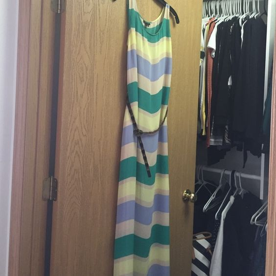 Ronson long sleeveless dress Khaki pale yellow periwinkle and green sheer long dress with nude underlay and brown belt. Wore once on vacation. Size L. Dresses Maxi