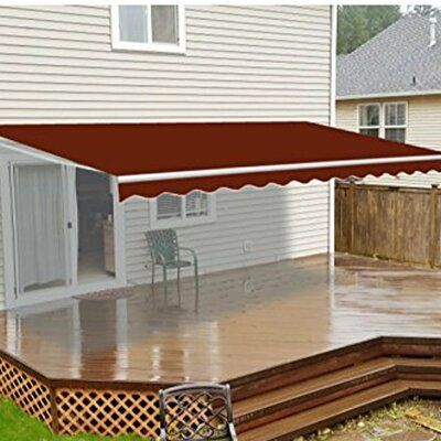 Aleko Aleko Retractable 10 X 8 Patio Awning Motorized 10ft X 8ft 3m X 2 5m Burgundy Colour Colour Ivory Size 10 H X 72 W X 6 D Patio Flooring Curved