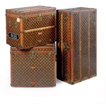 Classic Louis Vuitton trunks packed and ready! I'm surprised it all fit! One just for my gown for the ball. LOL