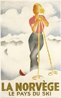 LA NORVÈGE vintage ski poster.