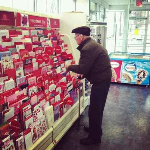 """So today I was in Hallmark buying my mom a Happy Birthday card when I noticed this old man standing in front of the Valentines card section contemplating which one to get. I decide to go over and I ask him 'Are you getting a Valentine's Day card for your wife?' in which he replies 'No my wife died 3 years ago from breast cancer but I still buy her roses and a card and bring them to her grave to prove to her that she was the only one that will ever have my heart.'"" {sweetness brings me to…"