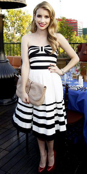 Emma Roberts - Black and White dress (Perfect)