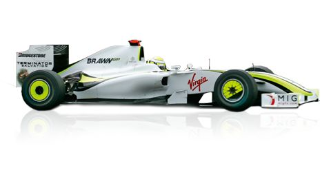 2009: Brawn GP BGP 001:  Jenson Button and Rubens Barrichello were the drivers for Mercedes-Benz partner team Brawn GP. Button won six out of the first seven races and took the World Championship title at the end of the season. Barrichello won two further races in the BGP 001. The same year saw McLaren-Mercedes driver Lewis Hamilton achieve a historic first victory for a Formula One racing car with KERS hybrid.  Displacement:	V8  Maximum Output:	2400 cc (147 cu in)  Top speed:	no date