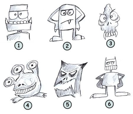 How to draw cartoon monsters step 4 drawing ideas for Funny simple drawings