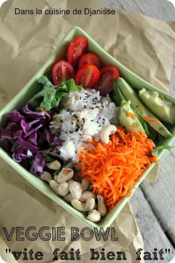 veggie bowl vite fait bien fait Pour 4 bols – 2 carottes – 1/2 petit chou rouge – 10 ou 12 tomates cerises – 4 grosses poignées de noix de cajou sans sel – 6 ou 8 feuilles de salade – 2 avocats mûrs – 4 verres à eau de riz Jasmin cuit – Sésame noir – Sauce Nuoc Mam végétarienne ou sauce salade japonaise (toutes 2 en magasins asiatiques) OU un mélange maison de sauce soja + vinaigre de riz + huile de sésame + sucre complet en quantité équivalente (1cs de chaque par personne par exemple)…