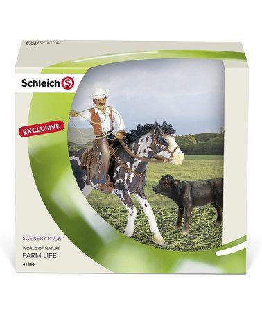 Look what I found on #zulily! Black Angus Calf Cowboy on Horse Figurine Set by Schleich #zulilyfinds