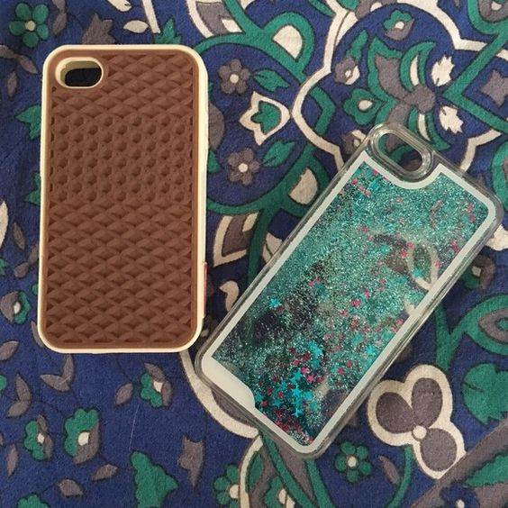 Bundle of 2 iPhone 5S Cases:  Vans & Glitter • 1 Vans Case with Classic Waffle Tread - Tan tread with white accents - Silicon  • 1 Clear Case with Floating Glitter - Blue Glitter & Blue/ Purple Stars - Hard plastic Vans Accessories Phone Cases