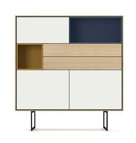 """""""Aura"""" cabinet showing contrasting lacquered wood and wood veneer. Designed by Angel Marti and Enrique Delamo for Treku Meubles in Spain. Found on Repeat. No Repeat."""
