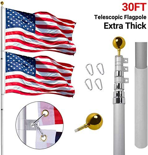 Enjoy Exclusive For Gientan 30ft Telescopic Flag Pole Extra Thick Heavy Duty Aluminum Flagpole Kit 3x5 Us Flag Golden Ball Top Commercial Residential Outdoor Use Fly 2 Flags Online In 2020