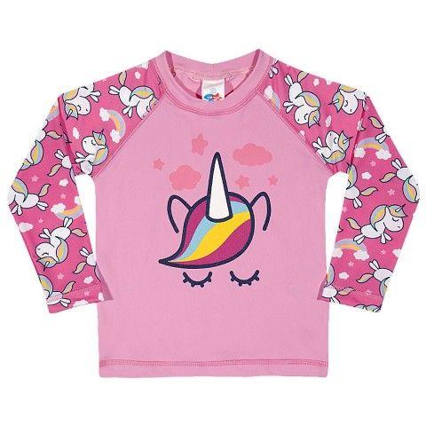 Camiseta Manga Longa Com Protecao Uv Unicornio Rosa Tecido Com