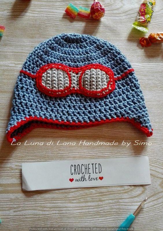 Cappellino neonato o bimbo in cotone, stile aviatore di LaLunadiLanaHandmade su…