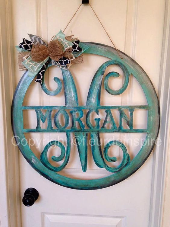 circle frame with name and monogram door by fleurdeinspire on etsy