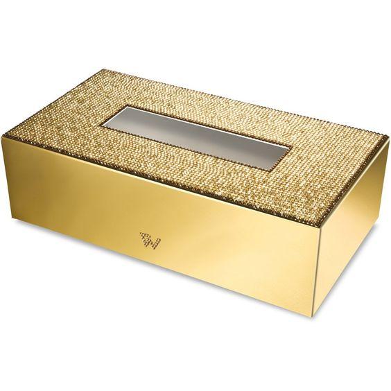 Starlight Rectangular Tissue Box Cover W Swarovski Crystals Tissue Boxes Tissue Box Covers Gold Bathroom Accessories