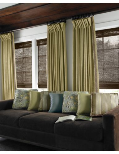 Soft top drapery layered over natural woven flat fold for Natural woven flat fold shades