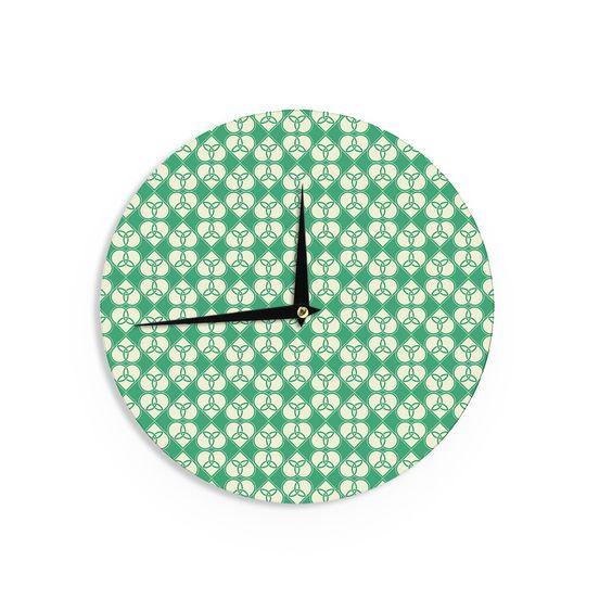 "KESS Original ""Celtic"" Green Pattern Wall Clock"