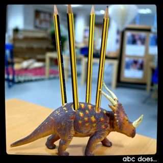 drilled holes male good pencil holders #abcdoes #markmaking #eyfs