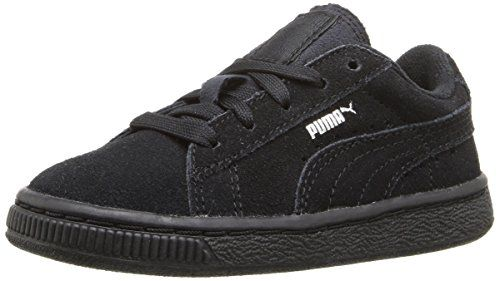 PUMA Suede JR Classic Sneaker (Little Kid/Big Kid). Classic suede sneaker with signature Formstrip and perforated detailing at midfoot. Removable Kinder-Fit sockliner and cushioned midsole. Non-marking rubber outsole.