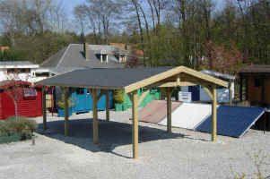 Small carport vendu en kits abris voiture en bois for Garage bois kit