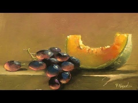 Painting Realistic Still Life With Glass Liquid And Fruit