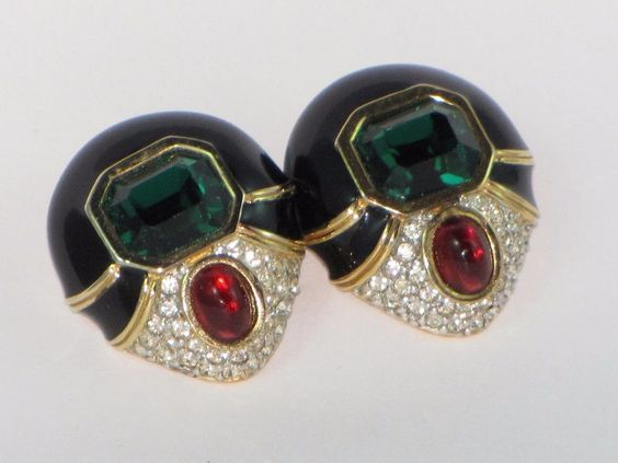 Ciner Jewels of India Enamel Red Cabochon Green Rhinestone Gold