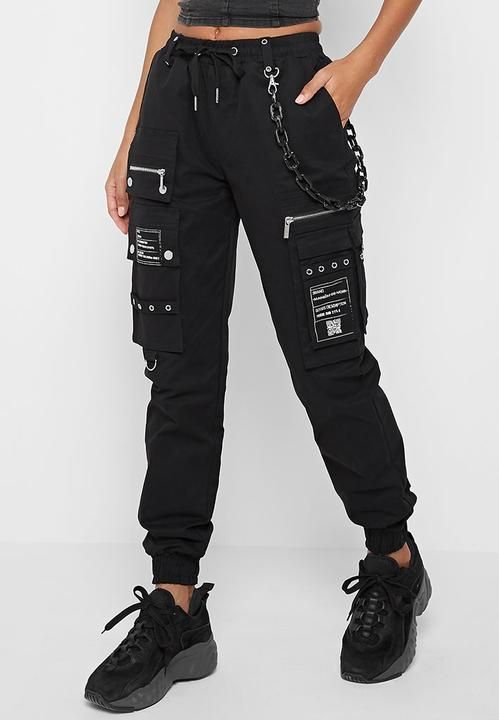 Black Cargo Pants With Marble Chain Detail Regular Fit Cargo Trouser Silhouette Elasticated Waistband Elastica Ropa Nike Mujer Pantalones De Moda Ropa Estetica