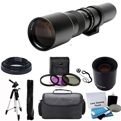 "nice 500mm -1000mm f/8.0 High Definition Multi Coated Telephoto Lens With 2X Multiplier + UV Filter Kit + 59"" Lightweight Tripod + Case For ALL Digital SLR Canon Camera EOS Rebel T3, T3i, T4i, T5i, 40D, 60D, 70D, 6D, 7D, 5D Mark III,  The 500mm Telephoto Lens utilizes aluminum alloy construction, all glass optics and the latest optical multi-coating techniques to provide crisp, high…"