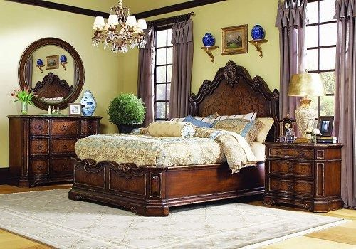 Enrich your surroundings with the grand European elegance of Beladora. The collection is dramatic and graciously scaled with maple and olive ash burl veneers accented by distinctive walnut inlays. Beladora pays homage to costly Old World antiques and showcases its exceptional design with a refined caramel finish with subtle gold tipping to accent the carving, chiseling and marquetry work -- all done by the hands of skilled craftsmen.