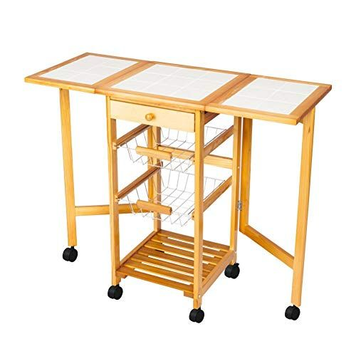 Kitchen Storage Trolley Cart Drop Leaf Rolling Island Shelves Dining Organizer Table With Ebook Kitchen Trolley Kitchen Cart Kitchen Roll
