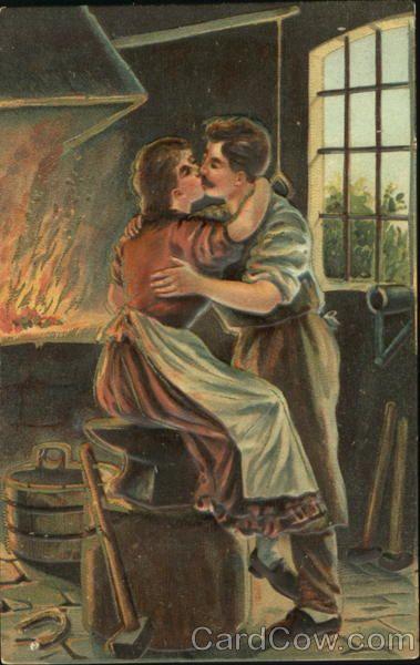Woman Kissing the Blacksmith Romance & Love