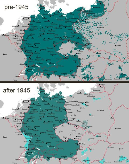 Decline of the influence and distribution of the German language – Map of Europe in German Language